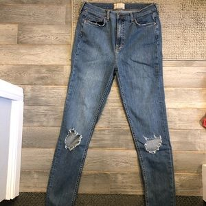 Free People High Rise Busted Skinny Jeans 30L